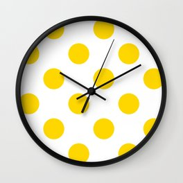 Large Polka Dots - Gold Yellow on White Wall Clock