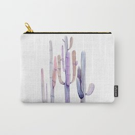 Minimalist Cactus Drawing Watercolor Painting Purple Carry-All Pouch