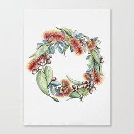 Floral Christmas Wreath, Illustration Canvas Print