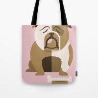 bulldog Tote Bags featuring Bulldog by Jude Landry