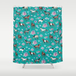Horse Pattern, Floral Print, Turquoise, Little Girls Room, Horses Shower Curtain
