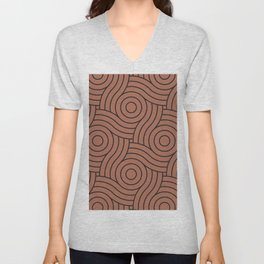 Circle Swirl Pattern Clay Brown, Inspired By Sherwin Williams Cavern Clay SW7701 Unisex V-Neck