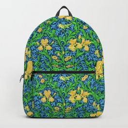 William Morris Irises, Yellow and Cobalt Blue Backpack