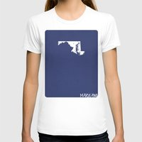 maryland T-shirts featuring Maryland Minimalist Vintage Map by Finlay McNevin