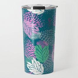 Firework textured floral on a blue/green base Travel Mug