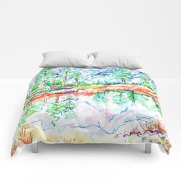 Colorful landscape Comforters
