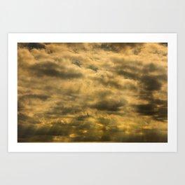 Storm clouds at sunset Art Print