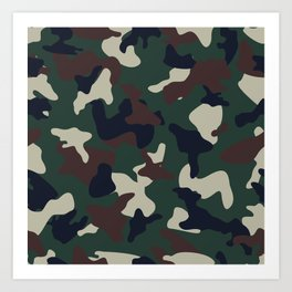 Green Brown woodland camo camouflage pattern Art Print