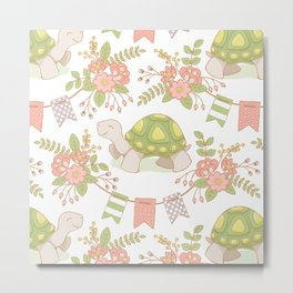 Little Tortoise -pattern- Metal Print