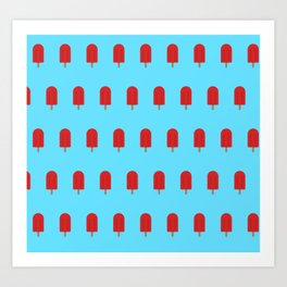 Red Popsicles - Blue Background Art Print