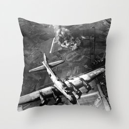 B-17 Bomber Over Germany Painting Throw Pillow
