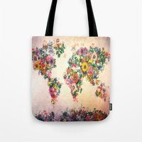 world map Tote Bags featuring world map by Bekim ART