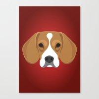 beagle Canvas Prints featuring Beagle by Three Black Dots