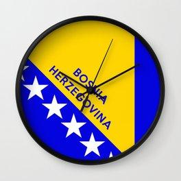 Bosnia and Herzegovina country flag name text Wall Clock