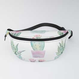Simply Echeveria Cactus in Pastel Cactus Green and Pink Fanny Pack