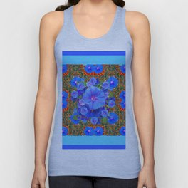 Baby Blue Modern Art  Blue Morning Glories Floral Art Unisex Tank Top