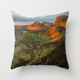 Sunrise in the Quiraing mountain landscape Throw Pillow
