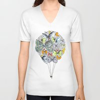 bows V-neck T-shirts featuring Bows & Butterflies by Romina M.