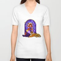 stained glass V-neck T-shirts featuring Stained glass by Rafapasta