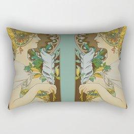 """Alphonse Mucha """"Feather"""" Rectangular Pillow"""