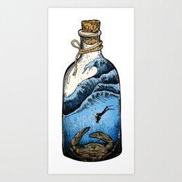 Deep blue bottle Art Print