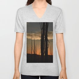sunset silhouettes Unisex V-Neck