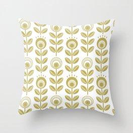 SCANDI GARDEN 01-2, mustard yellow on white Throw Pillow