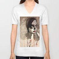 sugar skull V-neck T-shirts featuring sugar skull  by Joedunnz