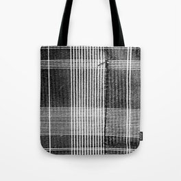 Stitched Plaid in Black and White Tote Bag
