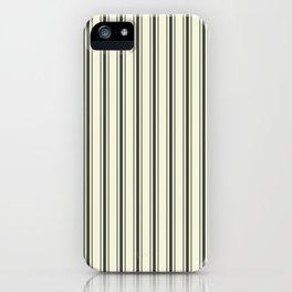 Mattress Ticking Wide Striped Pattern in Dark Black and Beige iPhone Case