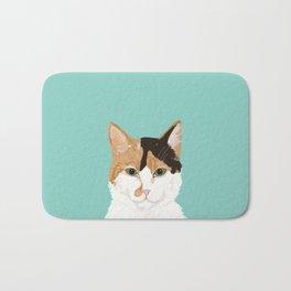 Calico Cat - Cute cat black, white, tan, orange tabby cat, cute kitten Bath Mat