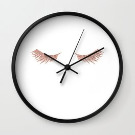 Pretty Lashes Rose Gold Glitter Pink Wall Clock