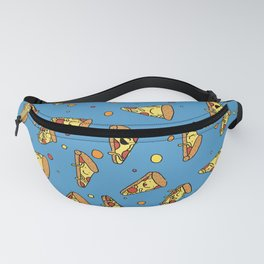 Cute Happy Smiling Pizza Pattern on blue background Fanny Pack