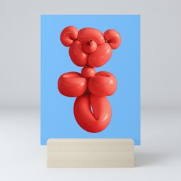Chilli red teddy bear party balloon on sky blue Mini Art Print