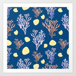 Corals & Shells Seamless Pattern with Deep Blue Background Art Print