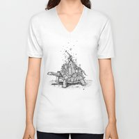 tortoise V-neck T-shirts featuring Tortoise Town by Brandon Dover (Braniel)