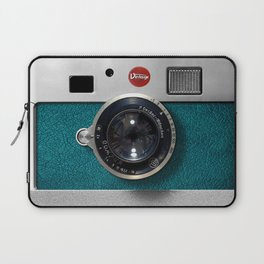 Blue Teal retro vintage camera with germany lens Laptop Sleeve