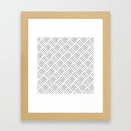 Gray and White Cross Hatch Design Pattern Framed Art Print