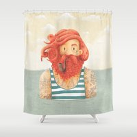 hipster Shower Curtains featuring Octopus by Seaside Spirit