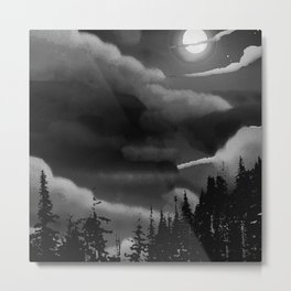 Bright Cloudy Night Sky in Black and White Metal Print