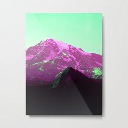 Green Air Vaporwave Mountains in Magenta, Washington Metal Print