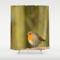 robin williams Shower Curtains featuring Robin by Susann Mielke
