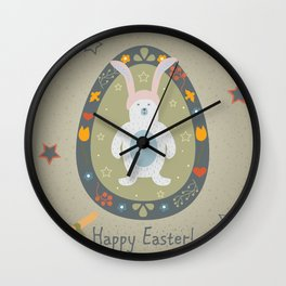 Festive Easter Egg with Cute Bear Character Wall Clock