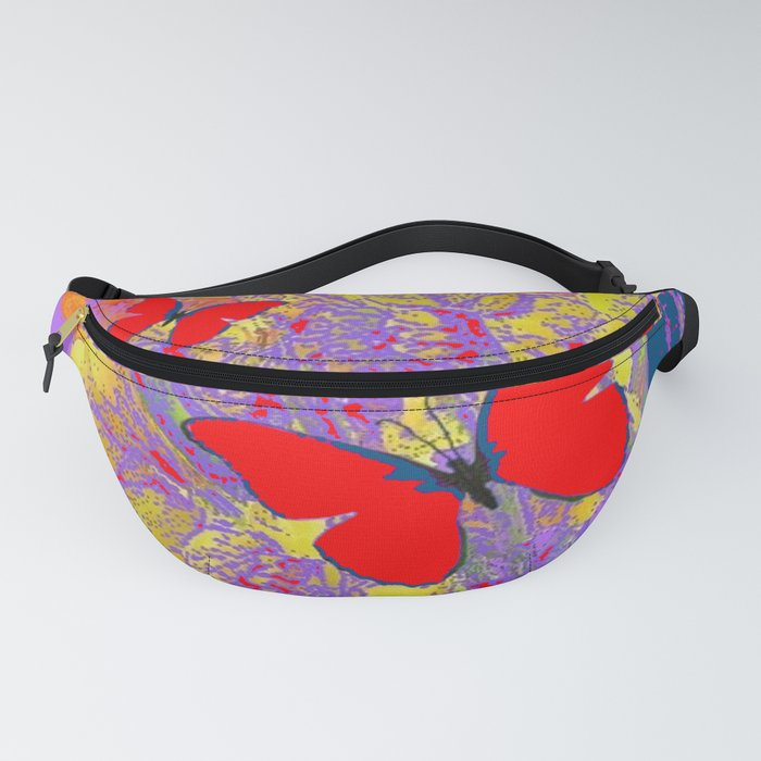 ABSTRACT RED BUTTERFLY TEAL  LILAC YELLOW FLORALS Fanny Pack