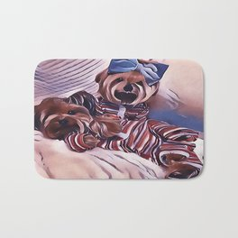 2 Yorkies Getting Ready For Bed Bath Mat