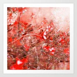 Bright Coral Floral Art Print