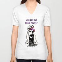 zappa V-neck T-shirts featuring Who Are The Brain Police, Frank Zappa Sheik Yerbouti! by CreepWerks