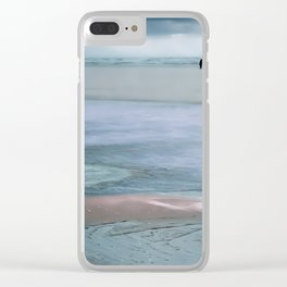 Walk on the beach in winter Clear iPhone Case