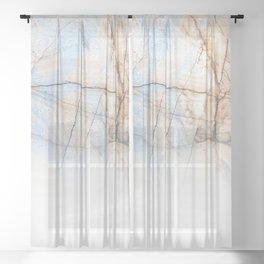 Cotton Latte Marble - Ombre blue and ivory Sheer Curtain