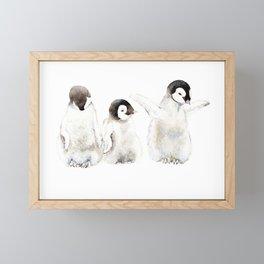 Playful Penguin Chicks - Watercolor Painting Framed Mini Art Print